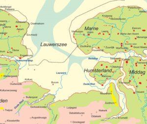 Lees meer over de grote veranderingen in het landschap, zoals de inpoldering van de Lauwerszee. Dit is een kaart van rond 1200.