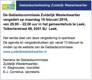Gebiedscommissie ZWK vergadert 19 februari 2018 gemeentehuis Leek