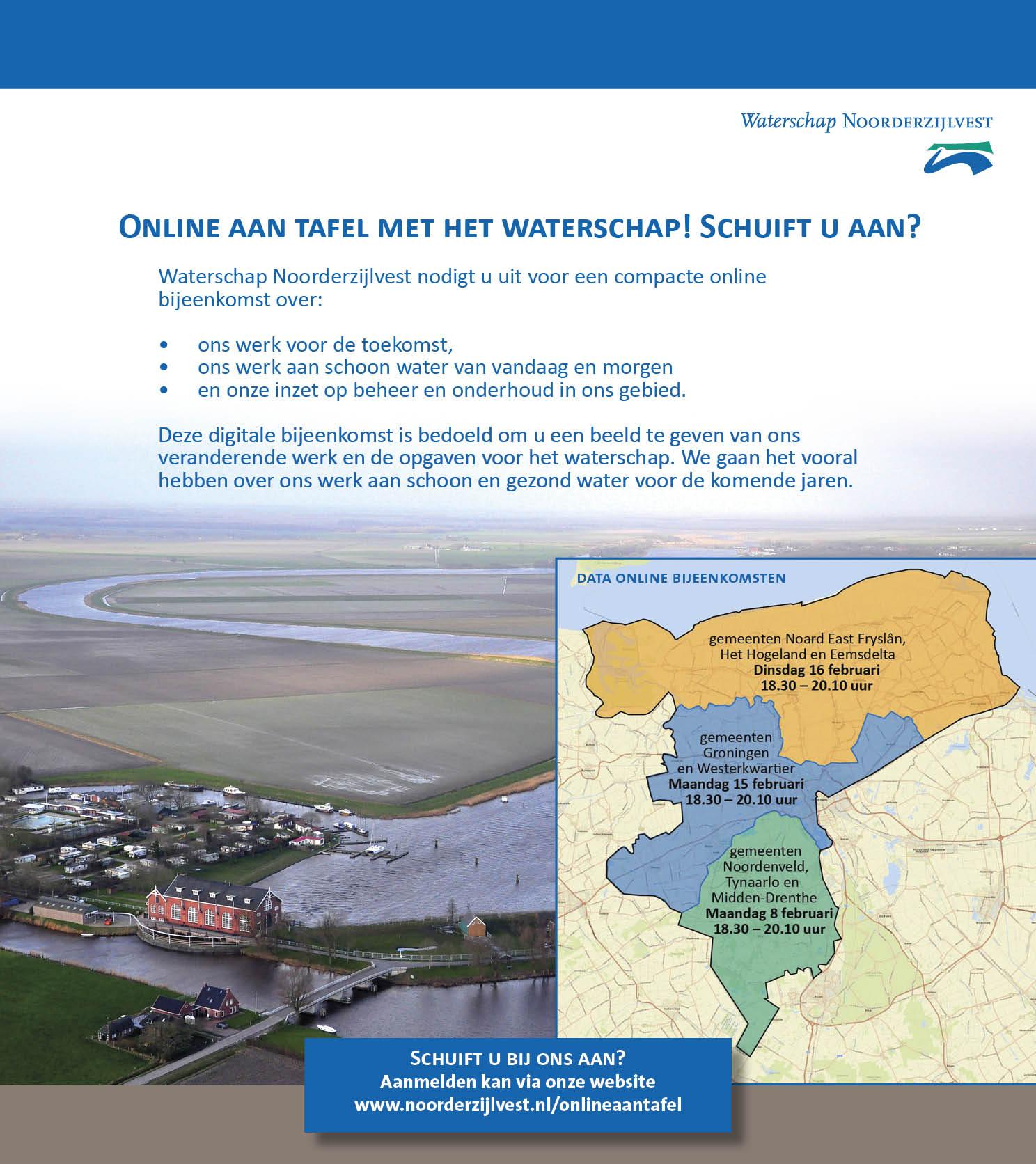 de afbeelding geeft weer waar de online sessie over gaat. 1. ons werk voor de toekomst. 2. ons werk aan schoon water. 3. onze inzet op beheer en onderhoud in en om het gebied.
