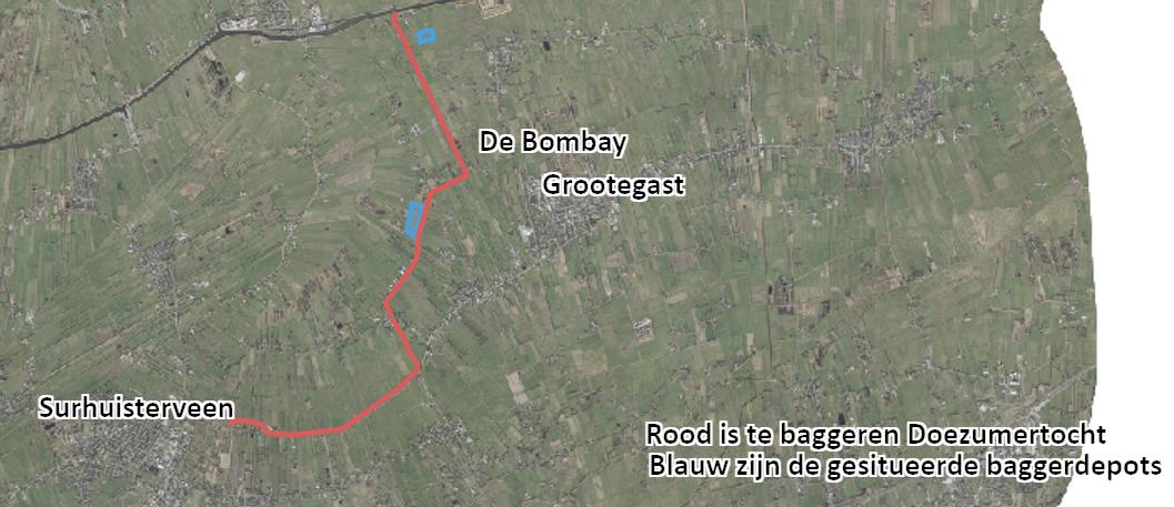 Luchtfoto van het gebied met aangegeven depots
