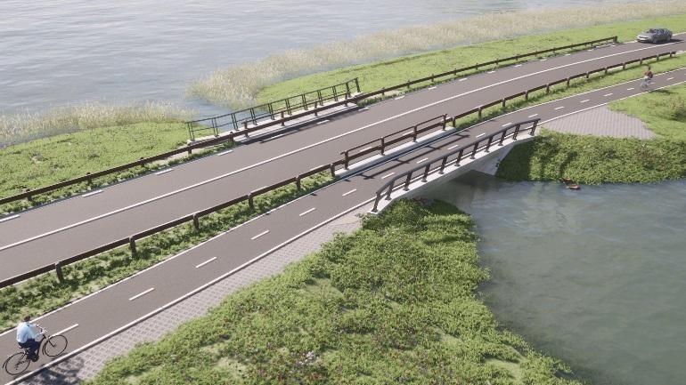 Visualisatie toekomstige N388 en de brug